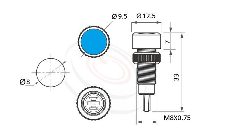 ML08-2AH Series概略尺寸圖,標示金屬指示燈的外型長度,信號燈 指示燈 內建電阻 metal LED Pilot Lamp,高柄LED 不發燙 指示燈,防水防塵防破壞,極致防護| MP16TECH提供您最完整的防水金屬指示燈金屬按鈕開關產品與服務
