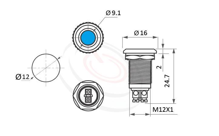 ML12-2ARL Series概略尺寸圖,標示螺絲接線 ,螺絲固定,鎖螺絲,螺絲腳,金屬LED指示燈(Metal LED Indicator) 的外型長度,信號燈 指示燈 metal LED Pilot Lamp,弧面LED 指示燈,亮眼外觀,引人注目  MP16TECH提供您最完整的防水金屬指示燈金屬按鈕開關產品與服務