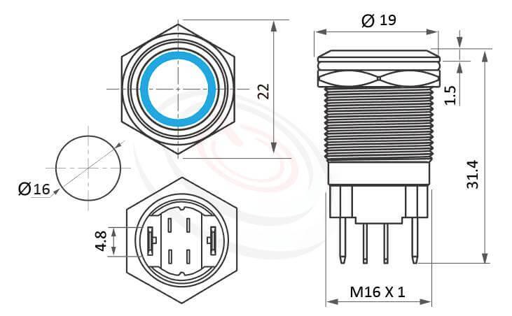 MP16H-4ZF Series概略尺寸圖,標示大電流金屬按鈕開關,高電流照光金屬開關的外型長度,短按鈕,平圓形| 高電流金屬按鍵| 防水防塵,短款開關,1NO一組常開接點,短款,開孔Φ16mm,1NO,自鎖式,平頭,大電流LED帶燈按鈕開關,多種燈色可選,環狀