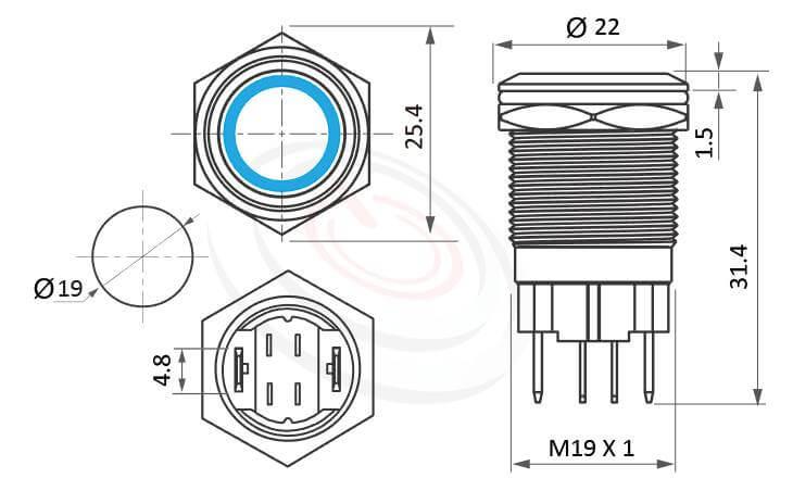 MP19H-4MF Series概略尺寸圖,標示照光式大電流金屬按鈕開關,20A高電流金屬按鈕的外型長度   防水防塵,短按鈕,19mm尺寸,1NO一組常開接點,自複,平鈕,大電流帶燈金屬按鈕開關,多種顏色可選,六種燈色可選-紅、綠、藍、白、橘、黃,天使眼開關,環形燈