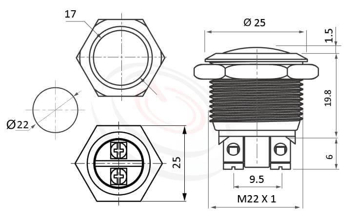 MP22-2MRL Series概略尺寸圖,標示金屬按鈕的外型長度,螺絲端子螺絲腳,Screw Terminal球面金屬按鈕,防破壞防暴開關按鈕系列,金屬不銹鋼本體耐衝擊具抗破壞性,操作穩定可靠度高, 孔徑、長度、螺牙、端子配置尺寸圖,IP65以上的防水等級22mm復位金屬原色球柄防水按鍵押扣按鈕 | MP16TECH提供您最完整的防水金屬按鈕開關產品與服務