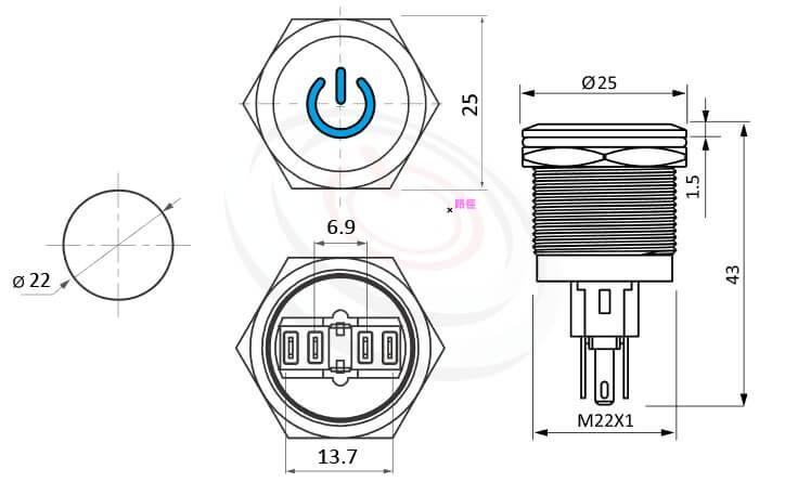 MP22-6MP Series概略尺寸圖,標示開機符號LED帶燈金屬按鈕開關的外型長度,復位電源符號金屬按鍵壓扣按鈕,平柄,金屬質感,氣勢非凡Φ22 開孔尺寸電源logo複歸帶燈金屬按鈕開關,多種顏色可選平面 | MP16TECH提供您最完整的防水金屬按鈕開關產品與服務