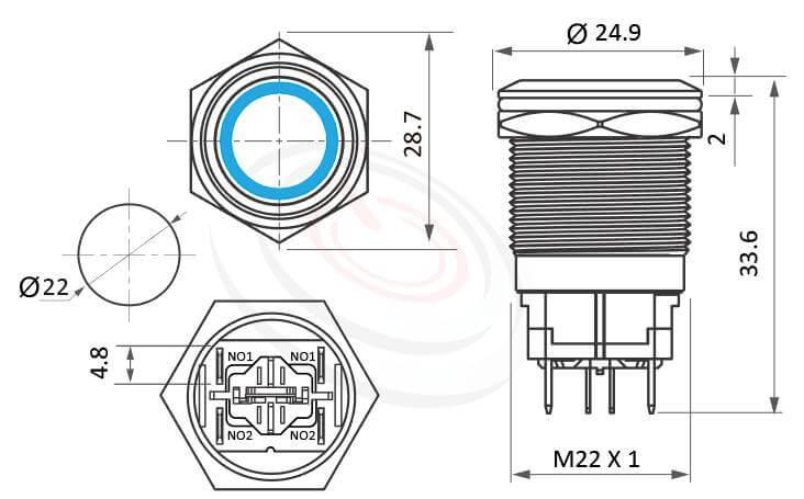MP22H-6ZF Series概略尺寸圖,標示帶燈大電流金屬按鈕開關金屬開關的外型長度,高電流金屬按鍵-IP/IK防護,短型,Φ22 開孔尺寸,2NO兩組常開接點,有段,平面,大電流帶燈金屬按鈕開關,多種顏色可選,環型帶燈, 天使眼照光式防水開關,高電流,20A大電流