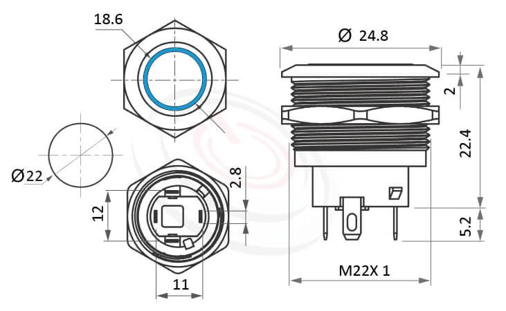 MP22S-4ZF Series概略尺寸圖,標示短款自鎖,短柄有段帶燈金屬按鈕的外型長度,平面,亮眼外觀,引人注目防水按鈕按鍵Φ22mm開孔有鎖指示燈開關,六種LED燈色可選-紅、綠、藍、白、橘、黃,平柄門禁按鈕 門禁按鍵 | MP16TECH提供您最完整的防水金屬按鈕開關產品與服務