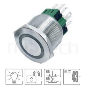 MP25-6MF Series-照光LED金屬按鈕,復位無鎖防水帶燈金屬按鍵| 防水防塵,一組常開+常閉接點1NO1NC,Φ25mm開孔,復歸,平圓型,環形帶燈,平面環形燈,開關尺寸25mm光圈金屬帶燈自復帶燈金屬開關,平柄,25mm 金屬開關按壓式開門按鈕 金屬開門按鈕 | MP16TECH提供您最完整的防水金屬按鈕開關產品與服務