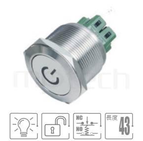 MP25-6MP Series-帶燈金屬按鈕,電源符號電源燈,大尺寸防水金屬平面按鈕適用於機台設備,金屬按鍵 按壓 按押開關| 防水防塵,25mm孔徑,一組常開+常閉接點1NO1NC,複歸,平柄,帶燈金屬按鈕開關,多種顏色可選,電源符號帶燈,平面電源符號25mm孔徑,大尺寸按鈕,適用於設備儀器,機台面板,idec,Φ22A20,A20L,HW,ap,gtek一體式開關,power符號燈復位照光金屬按鈕,LED六種燈色可選-紅、綠、藍、白、橘、黃平頭工業開關及指示燈種類豐富,可對應的面板安裝孔徑從8mm 到30mm | MP16TECH提供您最完整的防水金屬按鈕開關產品與服務