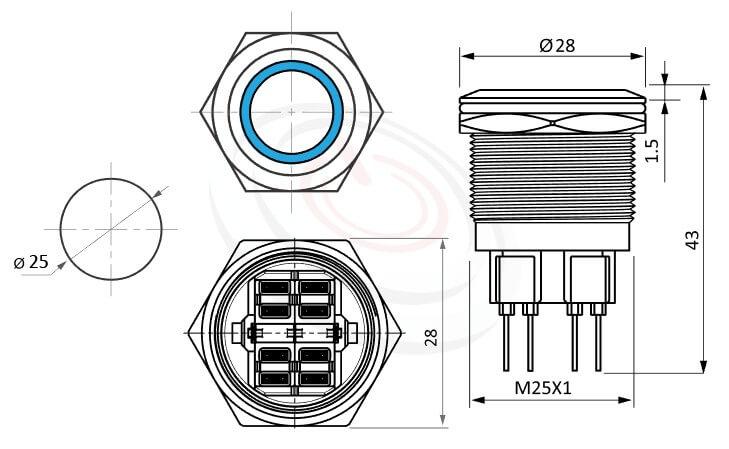 MP25-6MF Series概略尺寸圖,標示Φ25mm天使眼照光LED金屬開關的外型長度,防水按鈕按鍵,平面,眼睛為之一亮的開關新選擇Φ25 開孔尺寸環形帶燈無鎖LED金屬按鈕帶燈,六種燈色可選--紅、綠、藍、白、橘、黃平面儀器設備,機台面板控制開關,堅固耐撞,大尺寸22mm 25mm 28mm 30mm 40mm金屬開關按壓式開門按鈕 金屬開門按鈕 | MP16TECH提供您最完整的防水金屬按鈕開關產品與服務
