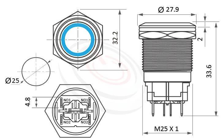MP25H-6MF Series概略尺寸圖,標示大電流金屬按鈕開關,高電流照光金屬開關的外型長度,短按鈕,平頭,高電流帶燈金屬按鍵-IP65以上防水等級,短柄,孔徑25mm,二組常開接點2NO,無段,平頭,大電流天使眼金屬壓扣開關,亮眼外觀,引人注目,高電流押扣開關