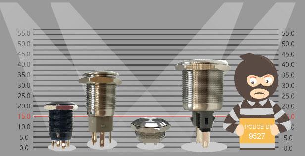 薄型金屬按鍵與其他標準金屬開關比較圖,降低了53%高度,節省了一半的空間
