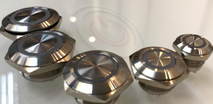Φ12mm Φ16mm Φ19mm Φ22mm Φ25mm Φ30mm 開孔尺寸, 每款都是超薄超短款,壓扣開關,押扣開關,金屬按鍵按鈕,可應用在多種場合及產品