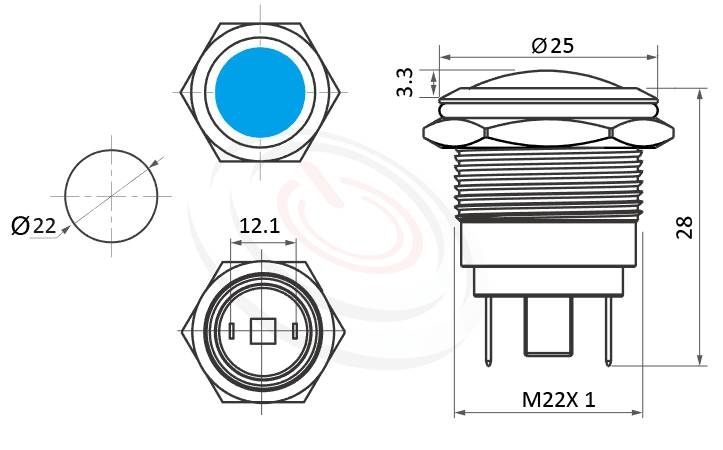 ML22-2AD Series概略尺寸圖,標示防水指示燈的外型長度,信號燈 指示燈 metal LED Pilot Lamp,弧柄LED 指示燈,不凡的操作介面為產品大大加分