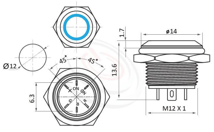 MP12T-6MFRGB Series概略尺寸圖,標示三色帶燈金屬按鈕開關,LED雙晶片無極性無方向性的外型長度三色紅藍綠圓形燈輕薄短小,超短款,迷你型,高度縮短,平面,各式尺寸長度可靈活應用   MP16TECH提供您最完整的防水金屬按鈕開關產品與服務 防水、防塵、耐腐蝕,GQ12,LAS4GQ,pbm12,cmp,bpb,mp12n,ft-12,MPB12,HK12B,HKYB12B,lb12b,J12,EJ12,qn12平面,材質-SUS,鋁合金,金屬外殼
