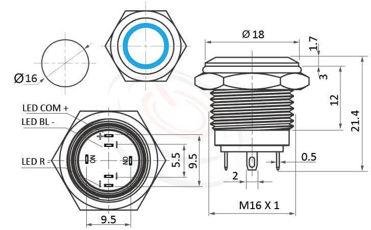 MP16E-6MFRGB Series概略尺寸圖,標示天使眼開關,LED雙晶片,正反可接的外型長度,小型,短款開關,平圓形,防水、防破壞、耐腐蝕,平面,材質-SUS不鏽鋼,黃銅,鋁殼