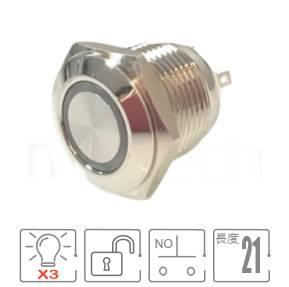 MP16E-6MFRGB Series-三色照光金屬按鈕,RGB三種led燈色可搭配使用, 防水、防塵、耐腐蝕,小型,短款開關,Φ16 開孔尺寸,一組A接點,自動復歸,平面,指示燈開關,六種LED燈色可選,內含限流電阻,圓型天使眼符號平頭GQ16,J16,EJ16,LAS2GQ,pbm16,cmp,MPB16,HK16B,HKYB16B,bpb,mp16n,ft-16,lb16b,qn16,材質-金屬殼,不銹鋼SUS,銅,鋁合金,自復回彈-IP65以上防水等級| MP16TECH提供您最完整的防水金屬按鈕開關產品與服務