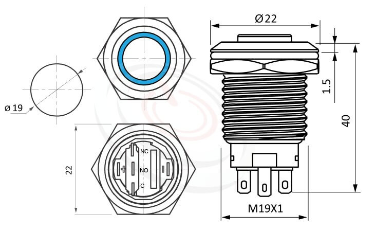 MP19-5MH Series概略尺寸圖,標示帶燈金屬按鈕開關,LED雙晶片無極性無方向性的外型長度,,高圓柄,防水防塵防破壞,極致防護 防水、防破壞、耐腐蝕,可對應GQ19,LAS1-BGQ,MPB19,MPS19,MW19,HK19B,HKYB19B,LAS1-AGQ,LAS1GQ,pbm19,cmp,bpb,mp19n,ft-19,lb19b,qn19,J19,EJ19平面,材質-鋁合金,不鏽鋼,黃銅