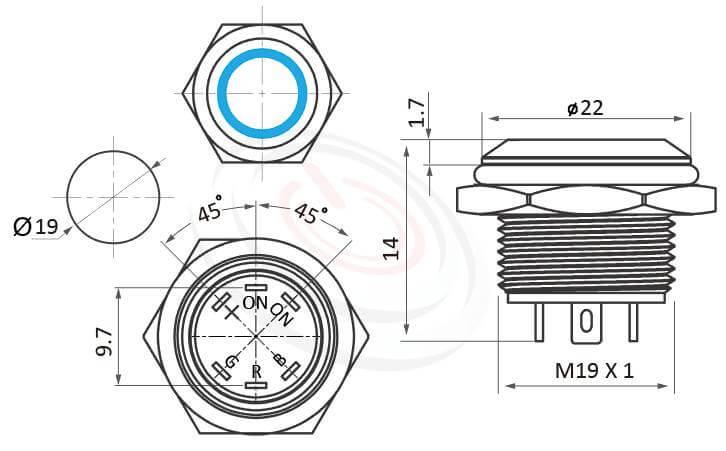 MP19T-6MFRGB Series概略尺寸圖,標示紅綠藍 三色RGB超薄短款防水開關,照光金屬按鈕的外型長度,三色環形燈開關薄型矮扁型,薄型矮扁型,平頭,亮眼外觀,引人注目 | MP16TECH提供您最完整的防水金屬按鈕開關產品與服務 防水、防塵、耐腐蝕,對應於GQ19,MPB19,MPS19,MW19,HK19B,HKYB19B,LAS1-BGQ,J19,EJ19,pbm19,cmp,bpb,mp19n,ft-19,lb19b,qn19,LAS1-AGQ,LAS1GQ平頭,材質-SUS不鏽鋼,黃銅,鋁殼