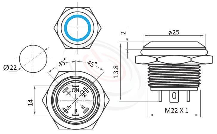MP22T-6MFRGB Series概略尺寸圖,標示紅綠藍 三色RGB超薄短款防水開關,照光金屬按鈕,雙向LED無極性的外型長度,RGB三色扁型薄型,超短款,迷你型,高度縮短,平面,亮眼外觀,引人注目 | MP16TECH提供您最完整的防水金屬按鈕開關產品與服務-IP/IK防護,可對照KPB22,MPB22,MPS22,MW22,HK22B,HKYB22B,J22,EJ22,pbm22,cmp,bpb,GQ22,mp22n,ft-22,lb22b,qn22,平頭,材質-黃銅鍍鎳,不鏽鋼,鋁合金