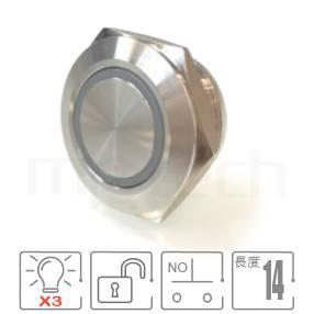 MP22T-6MFRGB Series-三色紅藍綠圓形燈迷你超薄型照光金屬按鈕,雙向LED無極性防水防暴安全防護,超短款,迷你型,高度縮短,22mm,NO接點,復歸 自復位,平面, 帶燈 照光式 LED發光金屬開關 LED 燈色, 燈壓5V 6V 12V 24V 110V 220V LED帶燈,圓型天使眼符號平柄可對應於GQ22,J22,EJ22,KPB22,MPB22,MPS22,MW22,HK22B,HKYB22B,pbm22,cmp,bpb,mp22n,ft-22,lb22b,qn22,材質-黃銅,鋁合金,不銹鋼,自動復歸防水防暴安全防護| MP16TECH提供您最完整的防水金屬按鈕開關產品與服務