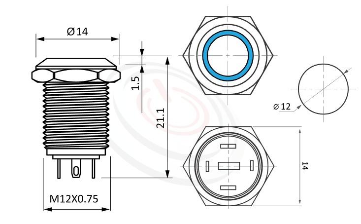 MP12-4MFX Series概略尺寸圖,標示氧化黑鋁合金天使眼金屬開關,雙晶片LED,雙極性的外型長度,陽極處理可客製化各種特殊色增進美觀,平圓形,給客戶驚豔的第一吸睛印象防水、防破壞、耐腐蝕,GQ12,LAS4GQ,pbm12,cmp,bpb,mp12n,ft-12,J12,MPB12,HK12B,HKYB12B,lb12b,qn12平圓形,材質-黃銅鍍鎳,不鏽鋼,鋁合金