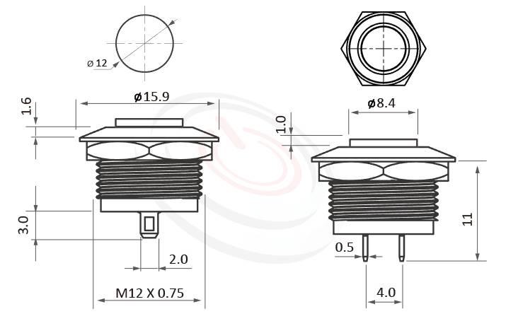 MP12K-2MK Series概略尺寸圖,標示超短款薄型防水金屬按鈕,電源金屬按鍵的外型長度,,高圓形,IP65以上的防水等級 防水防塵防化學腐蝕,ft-12,lb12b,qn12,GQ12,LAS4GQ,pbm12,cmp,bpb,mp12n,MPB12,HK12B,HKYB12B金屬外殼不鏽鋼按鈕,材質-SUS,鋁合金,金屬外殼