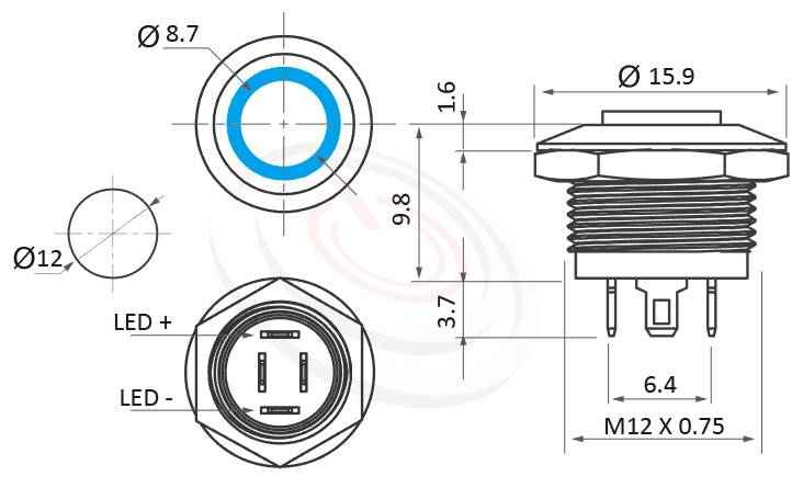 MP12K-4MH Series概略尺寸圖,標示短款超薄型照光式LED金屬按鈕的外型長度,薄、短,縮小體積,縮短高度,高平柄,金屬質感,氣勢非凡 防水防塵防化學腐蝕,GQ12,LAS4GQ,pbm12,cmp,bpb,mp12n,ft-12,J12,MPB12,HK12B,HKYB12B,lb12b,qn12,凸柄按鈕,材質-SUS不鏽鋼