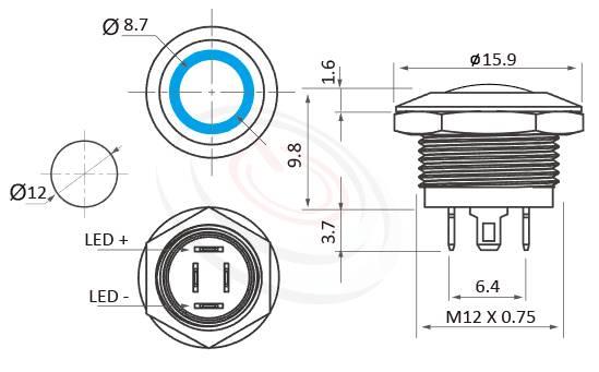 MP12K-4MJ Series概略尺寸圖,標示超薄型短款天使眼開關的外型長度,長度縮短,體積迷你,極短款,僅有14mm,弧面按鍵,容易按壓,不凡的操作介面為產品大大加分。防水防暴安全防護,MPB12,HK12B,HKYB12B,GQ12,LAS4GQ,pbm12,cmp,bpb,mp12n,ft-12,lb12b,qn12,J12,EJ12,材質-SUS不鏽鋼