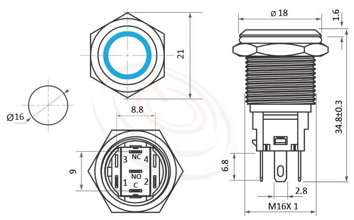 MP16F-5MF Series概略尺寸圖,標示LED帶燈照光金屬開關,雙向極性,LED正反可接的外型長度,,平鈕,亮眼外觀,引人注目,平面環形燈防水/防塵/防化學腐蝕,GQ16,J16,EJ16,LAS2GQ,pbm16,cmp,MPB16,HK16B,HKYB16B,bpb,mp16n,ft-16,lb16b,qn16平柄,材質-黃銅防水按鈕金屬按鍵