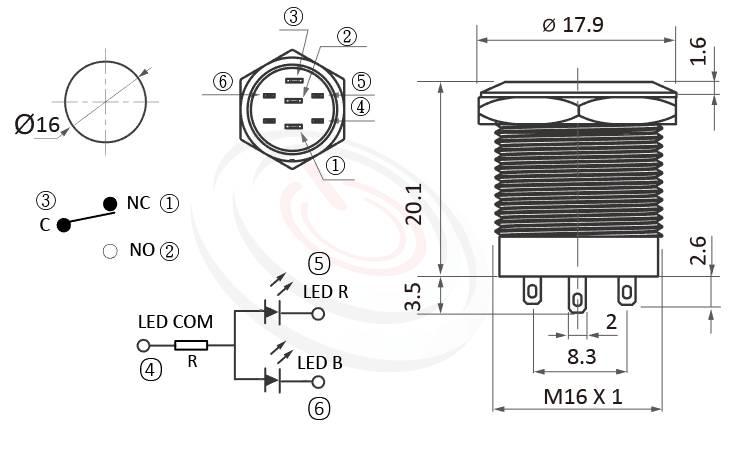 MP16S-6ZFRB Series概略尺寸圖,標示金屬按鈕雙色,燈色顏色紅藍、紅綠的外型長度,小型,短款開關,平面,眼睛為之一亮的開關新選擇,平面環形燈防水防暴安全防護,ft-16,lb16b,J16,EJ16,qn16,GQ16,MPB16,HK16B,HKYB16B,LAS2GQ,pbm16,cmp,bpb,mp16n平面,材質-金屬殼,不銹鋼SUS,銅,鋁合金