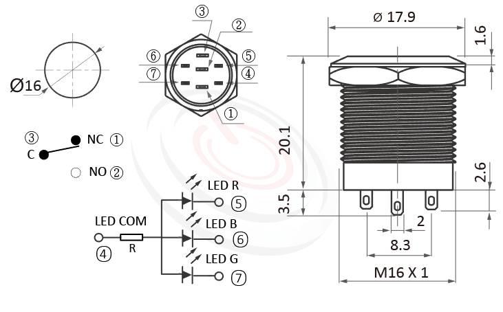 MP16S-7ZFRGB Series概略尺寸圖,標示紅綠藍三色RGB金屬開關,單獨顯色,共陰/共陽極的外型長度,短柄短款,平柄,防水防塵防破壞,極致防護,平面環形燈防水防暴安全防護,可對照J19,EJ19,pbm19,cmp,bpb,GQ19,LAS1-BGQ,LAS1-AGQ,LAS1GQ,mp19n,ft-19,lb19b,MPB19,MPS19,MW19,HK19B,HKYB19B,qn19,平圓型,材質-SUS不鏽鋼,黃銅,鋁殼