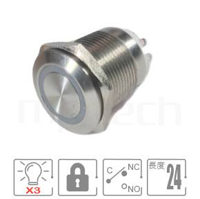 三色LED金屬按鈕開關16mm MP16S-7ZFRGB