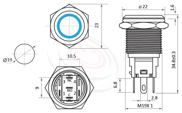 MP19F-5ZF Series概略尺寸圖,標示LED帶燈照光金屬開關,雙向極性,LED正反可接的外型長度,,平頭,金屬質感,氣勢非凡,平面環形燈-IP/IK防護,可對應於J19,MPB19,MPS19,MW19,HK19B,HKYB19B,EJ19,GQ19,LAS1-BGQ,LAS1-AGQ,LAS1GQ,lb19b,qn19,pbm19,cmp,bpb,mp19n,ft-19平面,材質-防水金屬按鈕,電源金屬按鍵