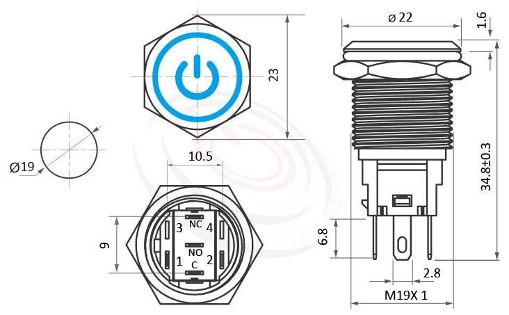 MP19F-5ZQ Series概略尺寸圖,標示帶燈LED金屬按鈕,內建LED限流電阻的外型長度,,平面,眼睛為之一亮的開關新選擇,平面電源符號+環形 防水、防塵、耐腐蝕,同等於GQ19,LAS1-BGQ,LAS1-AGQ,LAS1GQ,pbm19,J19,EJ19,cmp,bpb,MPB19,MPS19,MW19,HK19B,HKYB19B,mp19n,ft-19,lb19b,qn19天使眼+電源符號,材質-亮面黃銅金屬按鍵壓扣按鈕