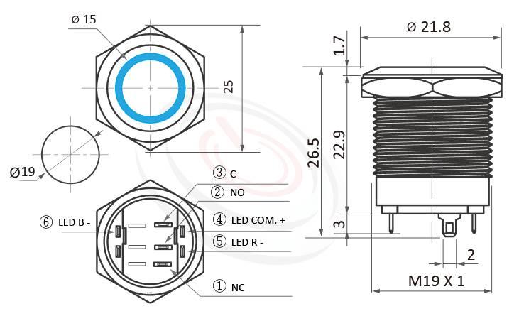 MP19S-6MFRB Series概略尺寸圖,標示双色LED帶燈金屬按鈕開關,LED紅藍雙色金屬按鍵開關的外型長度,RB兩種燈色,長度只有26.5mm,短型矮扁型,超短款開關,平頭,金屬質感,氣勢非凡 | MP16TECH提供您最完整的防水金屬按鈕開關產品與服務防水防暴安全防護,可對應GQ19,LAS1-BGQ,MPB19,MPS19,MW19,HK19B,HKYB19B,LAS1-AGQ,LAS1GQ,pbm19,cmp,bpb,mp19n,ft-19,lb19b,qn19,J19,EJ19平圓型,材質-SUS不鏽鋼,黃銅,鋁殼