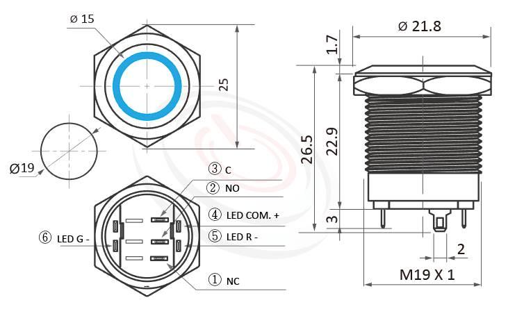 MP19S-6MFRG Series概略尺寸圖,標示雙色帶燈超短款金屬開關,LED紅綠双色的金屬按鈕外型長度,兩種燈色LED金屬按鈕開關長度縮短,體積迷你,極短款,短款,平頭,防水防塵防破壞,極致防護 | MP16TECH提供您最完整的防水金屬按鈕開關產品與服務防水防暴安全防護,可同等於MPB19,MPS19,MW19,HK19B,HKYB19B,GQ19,LAS1-BGQ,LAS1-AGQ,LAS1GQ,mp19n,J19,EJ19,ft-19,lb19b,qn19,pbm19,cmp,bpb平面,材質-SUS不鏽鋼,黃銅,鋁殼