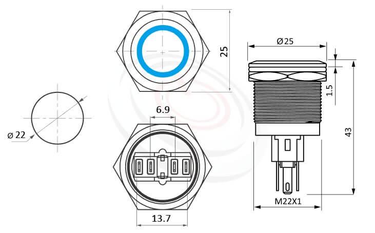 MP22-6ZFX Series概略尺寸圖,標示鋁合金陽極黑色帶燈金屬按鈕開關,陽極處理,氧化處理,黑色金屬外殼。LED雙晶片無極性無方向性的外型長度,,平圓型,更靈活彈性的燈色燈壓選擇 防水、防塵、耐腐蝕,對照於KPB22,MPB22,MPS22,MW22,HK22B,HKYB22B,pbm22,cmp,bpb,mp22n,ft-22,J22,EJ22,GQ22,lb22b,qn22平面,材質-鋁合金,不鏽鋼,黃銅