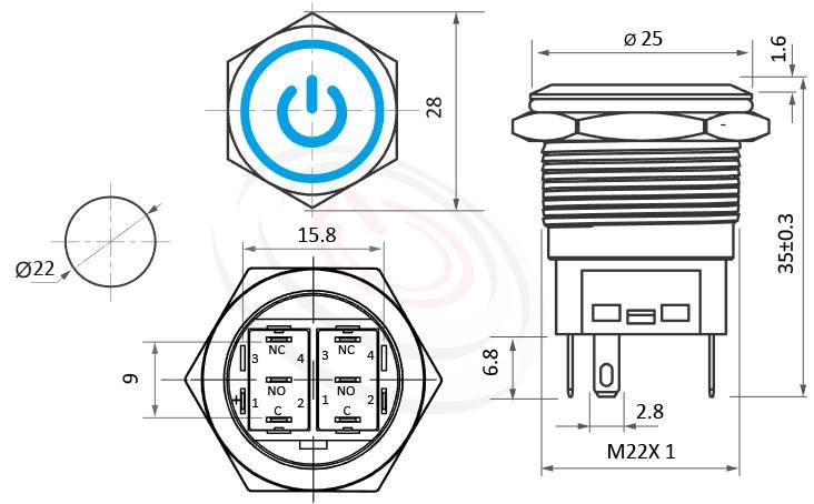 MP22F-5MQ Series概略尺寸圖,標示LED照光金屬開關,無極性,正反都可接的外型長度,,平圓形,眼睛為之一亮的開關新選擇,平面電源符號+環形防水防暴安全防護,對應於GQ22,KPB22,MPB22,MPS22,MW22,HK22B,HKYB22B,pbm22,J22,EJ22,cmp,bpb,mp22n,ft-22,lb22b,qn22IO符號加環形燈,材質-黃銅亮面防水金屬按鍵