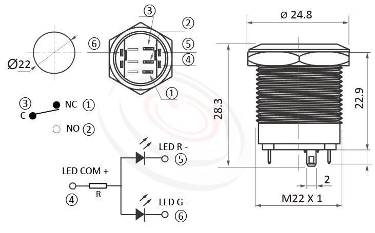 MP22S-6MFRG Series概略尺寸圖,標示雙色LED金屬按鈕的外型長度,燈色:三色RGB,可客製化其他顏色,共陽極共正極, 共負極共陰極薄型矮扁型,短款,平柄,可客製/雷雕按鍵圖案 | MP16TECH提供您最完整的防水金屬按鈕開關產品與服務 防水防塵防化學腐蝕,對應KPB22,MPB22,MPS22,MW22,HK22B,HKYB22B,pbm22,cmp,J22,EJ22,bpb,mp22n,ft-22,lb22b,qn22,GQ22,LAS4GQ,平面,材質-黃銅鍍鎳,不鏽鋼,鋁合金