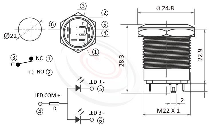 MP22S-6ZFRB Series概略尺寸圖,標示雙色紅藍双色金屬開關的外型長度,共陰極接法,共陽極接線,輕薄短小,短款開關,平柄,可客製/雷雕按鍵圖案   MP16TECH提供您最完整的防水金屬按鈕開關產品與服務 防塵防水防化學腐蝕,可對照於KPB22,MPB22,MPS22,MW22,HK22B,HKYB22B,GQ22,pbm22,cmp,bpb,mp22n,ft-22,J22,EJ22,lb22b,qn22平柄,材質-鋁合金,不鏽鋼,黃銅