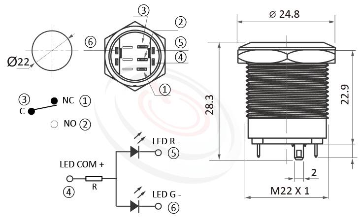 MP22S-6ZFRG Series概略尺寸圖,標示雙色燈金屬按鈕開關,紅綠LED兩色金屬按鍵的外型長度,双色LED環形燈,共陰極接法,共陽極接線超短柄矮扁薄型,短款開關,平頭,給客戶驚豔的第一吸睛印象 | MP16TECH提供您最完整的防水金屬按鈕開關產品與服務-IP65以上防水等級,可對照於KPB22,MPB22,MPS22,MW22,HK22B,HKYB22B,GQ22,pbm22,cmp,bpb,mp22n,ft-22,J22,EJ22,lb22b,qn22,平頭,材質-金屬殼,不銹鋼SUS,銅,鋁合金