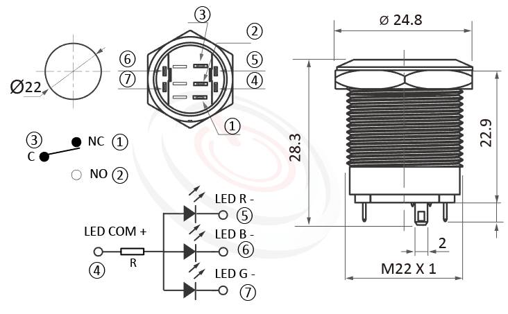 MP22S-7MFRGB Series概略尺寸圖,標示三色LED環形燈,共陰極接法,共陽極接線的金屬按鈕外型長度,紅綠藍三色,單獨顯色,可採用共陰或共陽極接線,薄型矮扁型,小型,短款開關,平面,28mm超短長度,尺寸可靈活應用 | MP16TECH提供您最完整的防水金屬按鈕開關產品與服務 ,可對照KPB22,MPB22,MPS22,MW22,HK22B,HKYB22B,J22,EJ22,pbm22,cmp,bpb,GQ22,mp22n,ft-22,lb22b,qn22,平柄,材質-不鏽鋼,黃銅鍍鎳,鋁合金