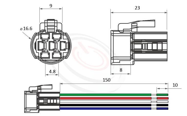 TH-MP16F 概略尺寸圖,標示金屬開關帶線連接器的接頭尺寸及線材長度,專用於MP16F全系列,包含MP16F-3MF、MP16F-5MF、MP16F-5ZF、MP16F-5MQ、MP16F-5ZQ。用來對接MP16F系列的金屬開關底座。不需要焊接每個端子,可快速立即聯接對插安裝。