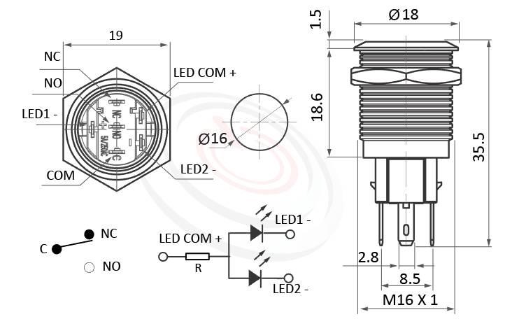 MP16-6ZF Series概略尺寸圖,標示雙色帶燈LED金屬按鈕,內建LED限流電阻的外型長度,紅藍,紅綠雙色,平鈕,各式尺寸長度可靈活應用,平面環形燈-IP/IK防護,GQ16,LAS2GQ,pbm16,J16,EJ16,cmp,bpb,mp16n,MPB16,HK16B,HKYB16B,ft-16,lb16b,qn16,PY1601A,57M平圓形,材質-黃銅鍍鎳,不鏽鋼,鋁合金