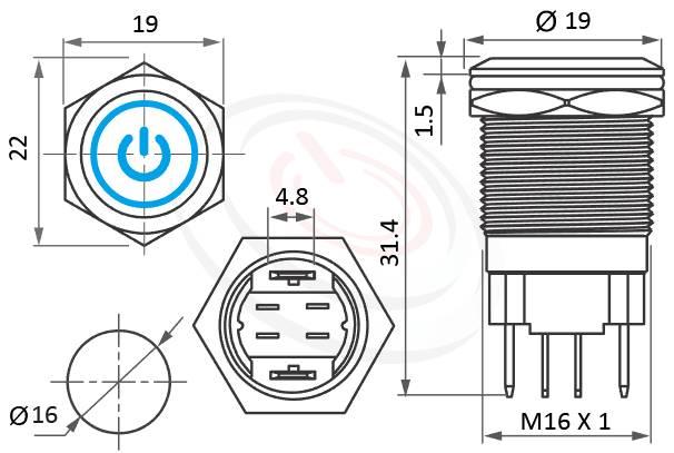 MP16H-4MQ Series概略尺寸圖,標示帶燈LED金屬按鈕,防水天使眼開關的外型長度,,平面,給客戶驚豔的第一吸睛印象,大電流金屬按鈕防水IP67防暴IK08安全防護,GQ16,J16,EJ16,LAS2GQ,pbm16,cmp,MPB16,HK16B,HKYB16B,bpb,mp16n,ft-16,lb16b,qn16,PY16104A,57M電源符號加環形,材質-黃銅,鋁合金,不銹鋼