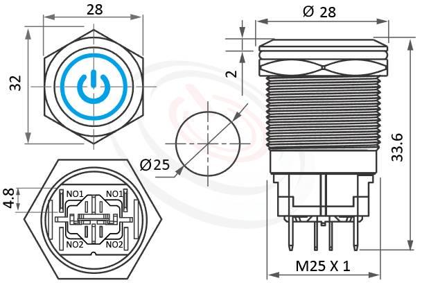 MP25H-4MQ Series概略尺寸圖,標示照光式LED金屬按鈕,LED 電源符號天使眼開關的外型長度,平柄,大電流金屬按鈕開關,IP防水、IK防破壞、耐腐蝕,可對應於GQ25,J25,EJ25,KPB25,MPB25,MPS25,MW25,HK25B,HKYB25B,pbm25,cmp,bpb,mp25n,ft-25,lb25b,qn25電源符號加環形,材質-不鏽鋼,黃銅鍍鎳,鋁合金