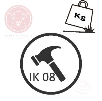 圖示標註了IK等級常用的標章Mark,IK code IK rating 並沒有像UL、CE或ENEC等標準規範有一個制式的標章(Mark),大部分看到的是下圖有著厚重的鐵鎚或砝碼,加註了防護等級。