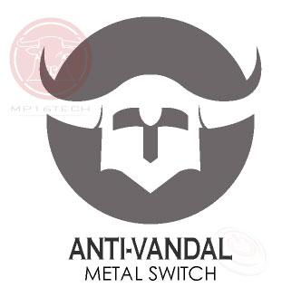鉑達Anti-Vandal Metal Push Button 防破壞金屬按鈕開關,擁有高強度堅硬耐撞的外殼,從面板前端完全包覆著內部的接點組件,盔甲般的抵抗外力的破壞,防衛守護著面板後的開關功能。