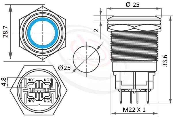 MP22H-4MF Series概略尺寸圖,標示High current 金屬按鈕,LED照光金屬開關,帶燈天使眼金屬按鈕的外型長度,,平面,亮眼外觀,引人注目-IP65以上防水等級,相等於ft-22,KPB22,MPB22,MPS22,MW22,HK22B,HKYB22B,J22,EJ22,lb22b,qn22,GQ22,pbm22,cmp,bpb,mp22n平面,材質-黃銅鍍鎳,不鏽鋼,鋁合金