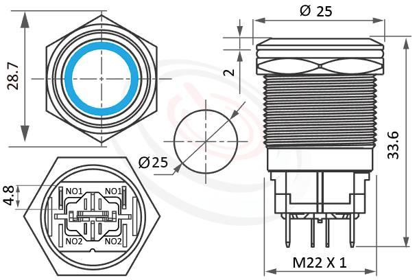 MP22H-4ZF Series概略尺寸圖,標示帶燈LED大電流金屬按鈕,防水天使眼開關的外型長度,自鎖有段,平頭,眼睛為之一亮的開關新選擇-IP/IK防護,對照於KPB22,MPB22,MPS22,MW22,HK22B,HKYB22B,pbm22,cmp,bpb,mp22n,ft-22,J22,EJ22,GQ22,lb22b,qn22平面,材質-金屬殼,不銹鋼SUS,銅,鋁合金