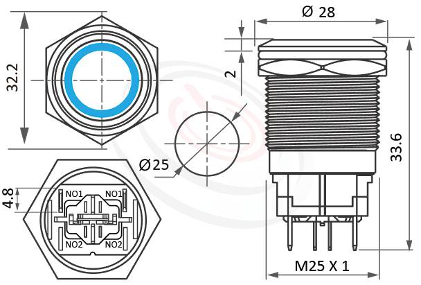 MP25H-4MF Series概略尺寸圖,標示高電流按鈕開關LED帶燈照光金屬開關,天使眼防水按鈕的外型長度,,平頭,亮眼外觀,引人注目 IP67防水、IK08防塵、耐腐蝕,可對照pbm25,cmp,bpb,GQ25,mp25n,KPB25,MPB25,MPS25,MW25,HK25B,HKYB25B,ft-25,lb25b,qn25,J25,EJ25平頭,材質-黃銅,鋁合金,不銹鋼