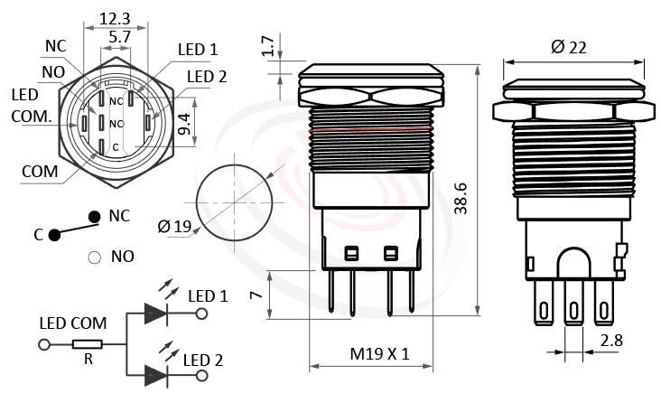 MP19-6MF Series概略尺寸圖,標示照光式LED金屬按鈕,LED 天使眼開關的外型長度,,平面,給客戶驚豔的第一吸睛印象,不鏽鋼防水金屬按鍵開關,anti-vandal Resistant Switches,waterproof switch, metal button switch IP67防水防塵、耐腐蝕,同等於GQ19,LAS1-BGQ,LAS1-AGQ,LAS1GQ,pbm19,J19,EJ19,cmp,bpb,MPB19,MPS19,MW19,HK19B,HKYB19B,mp19n,ft-19,lb19b,qn19平圓型,材質-外殼金屬,不鏽鋼,不銹鋼